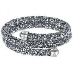 Swarovski Crystaldust Argento Double Bracciale Acciaio - M