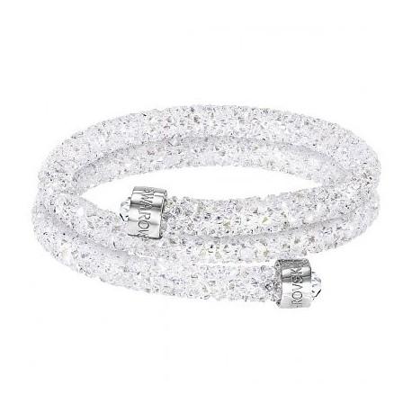 c7df71cfb78641 Swarovski Crystaldust Bianco Double Bracciale Acciaio - M