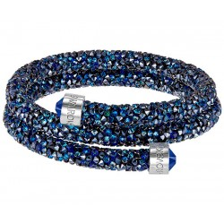 Swarovski Crystaldust Blu Double Bracciale Acciaio - M